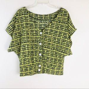 Audrey Black Yellow Button Down Print Blouse